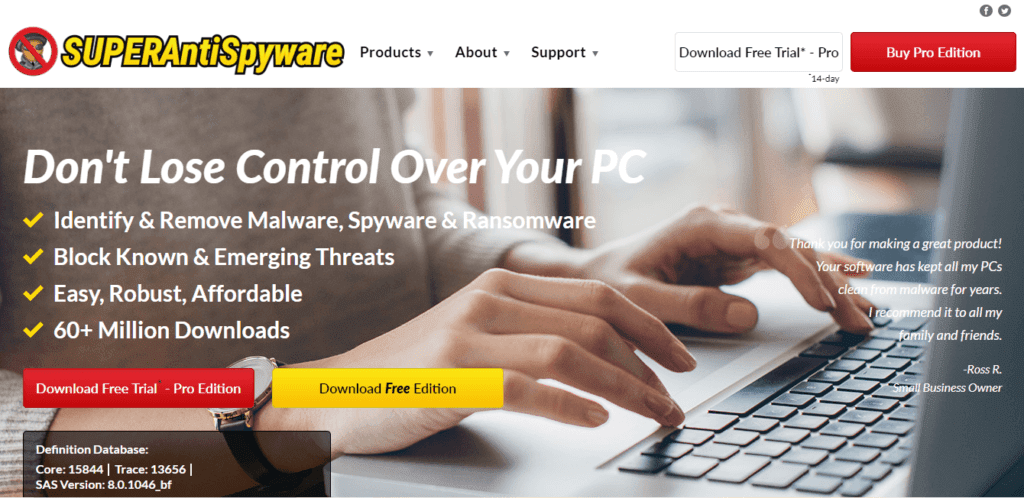 "8. <a href=""https://www.superantispyware.com/"" rel=""nofollow noopener"" target=""_blank"" data-btn-name=""Affiliate Link"">SUPERAntiSpyware</a> — Best for Additional Spyware Protection"