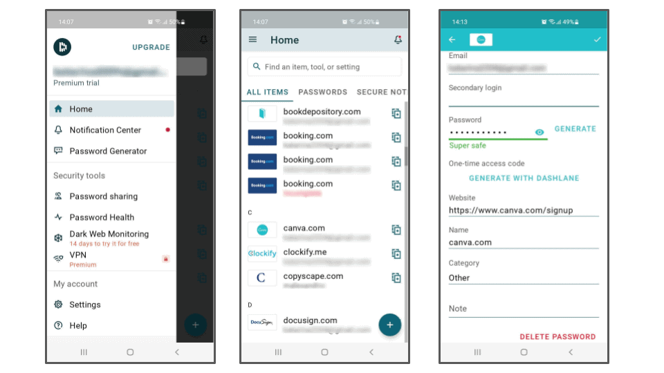 Dashlane mobil-app