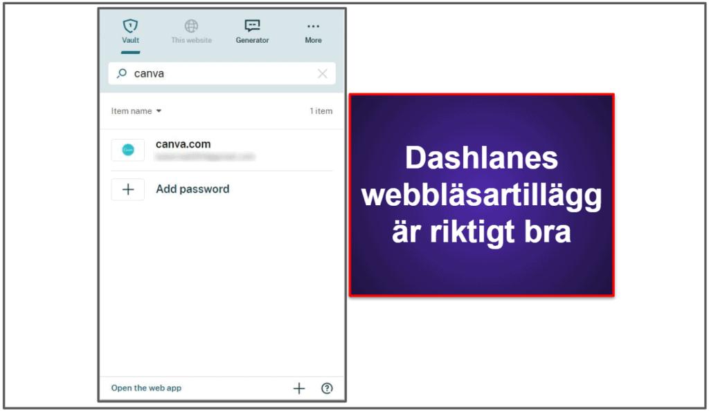Dashlanes användbarhet och konfigurering