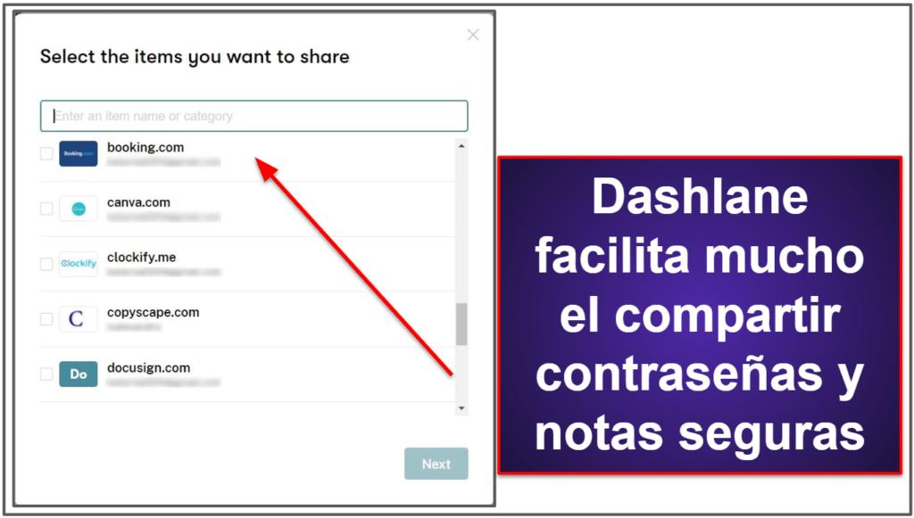 Funcionalidades de seguridad de Dashlane