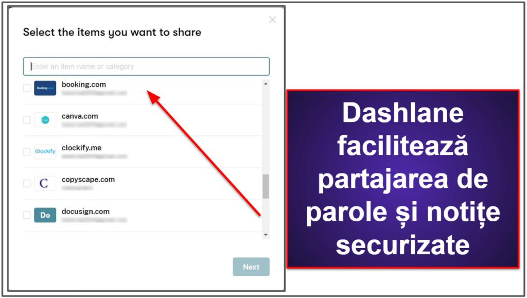 Funcții de securitate Dashlane