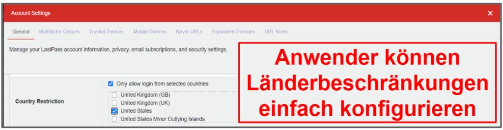 Sicherheitsfunktionen von LastPass