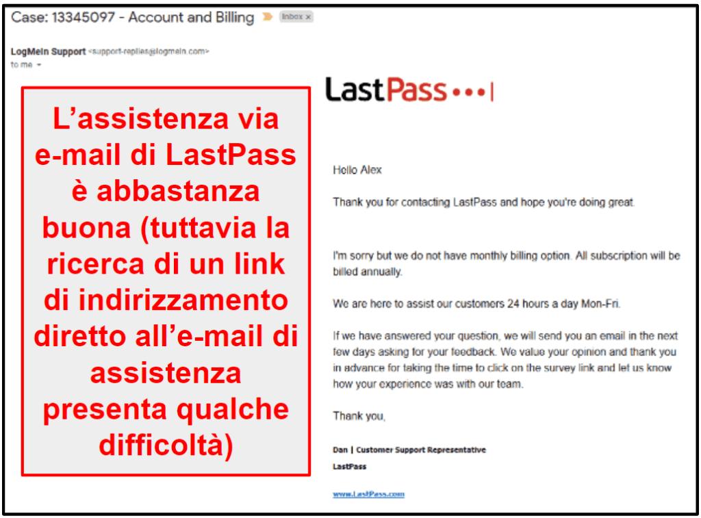 Assistenza clienti di LastPass