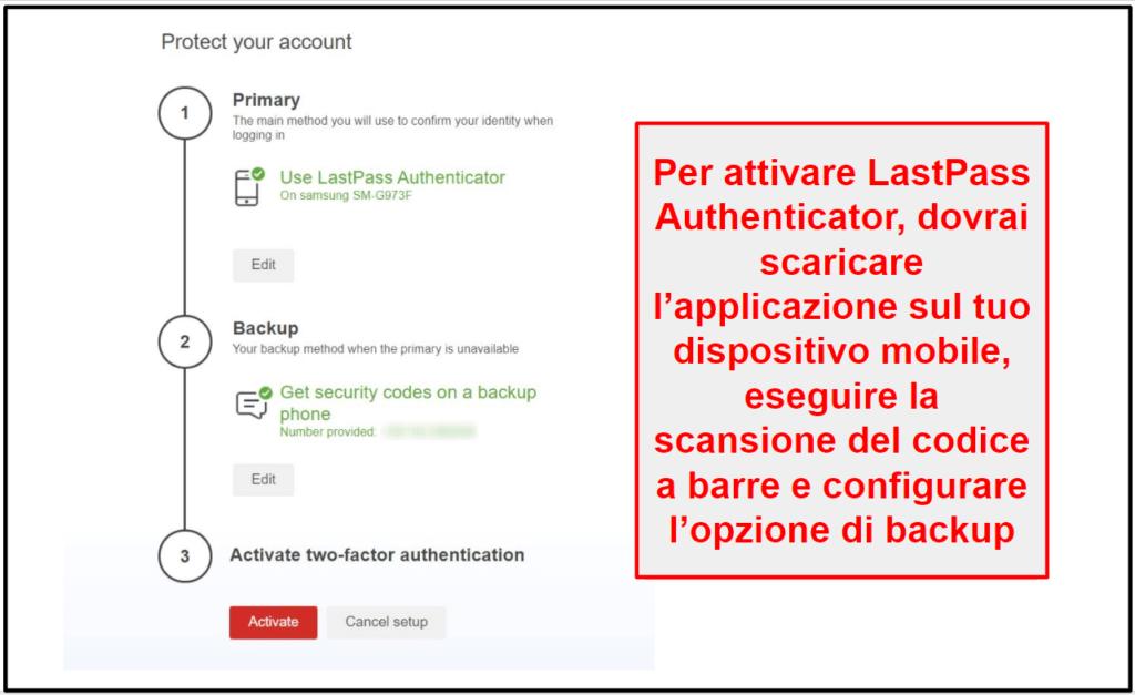 Funzionalità di sicurezza di LastPass
