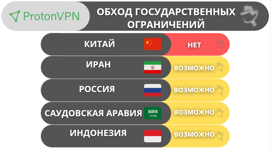 ProtonVPN для обхода государственных ограничений