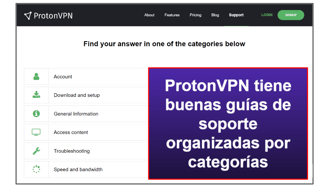 Soporte al cliente de ProtonVPN