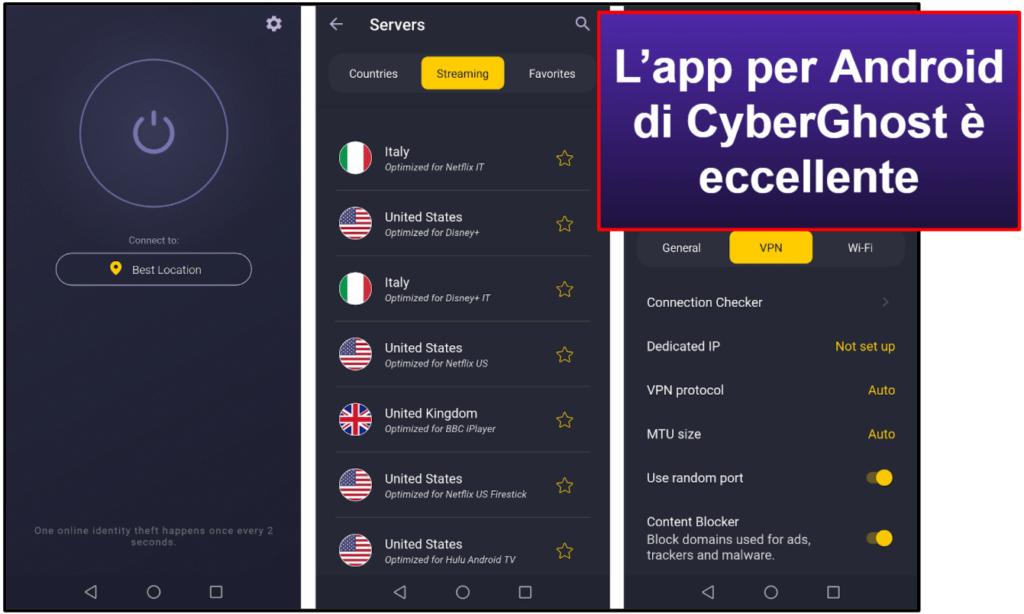 Facilità di utilizzo di CyberGhost VPN: app per dispositivi mobili e PC fisso
