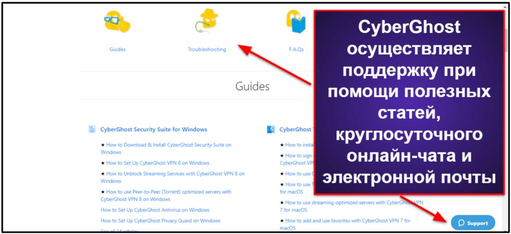 Служба поддержки пользователей CyberGhost VPN