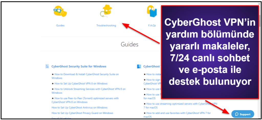 CyberGhost VPN Müşteri Hizmetleri