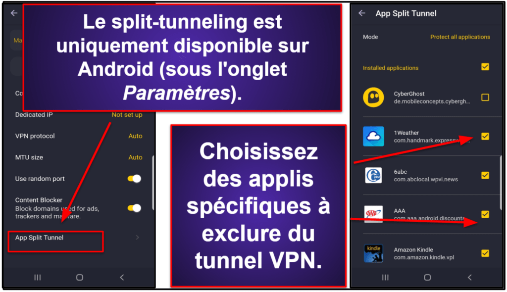 Fonctionnalités de CyberGhost VPN