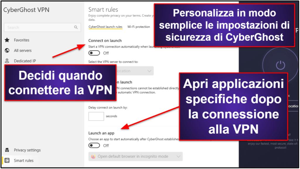 Funzionalità di CyberGhost VPN