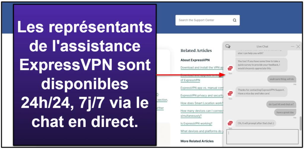 Assistance clientèle d'ExpressVPN
