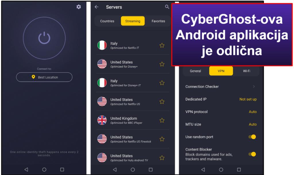 CyberGhost VPN Jednostavnost korištenja: Aplikacije za mobilne telefone i stolna računala