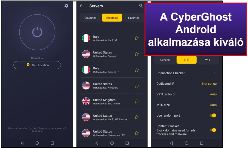 CyberGhost VPN kezelhetőség: mobil & asztali appok