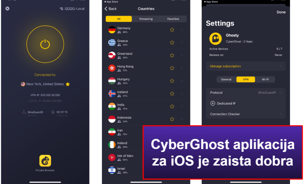 CyberGhost VPN lakoća korišćenja: mobilne i desktop aplikacije