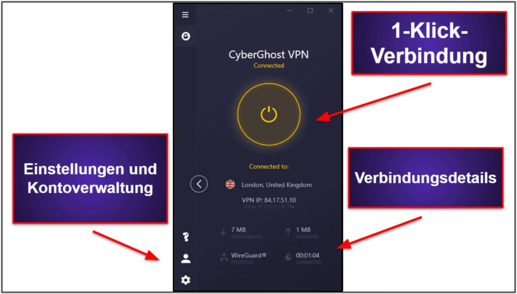CyberGhost VPN Oberfläche: Mobile & Desktop-Apps