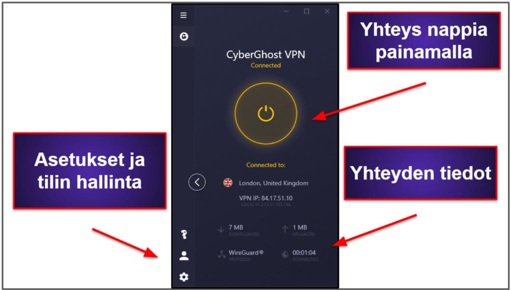 CyberGhost VPN Helppokäyttöisyys: mobiili- ja työpöytäsovellukset