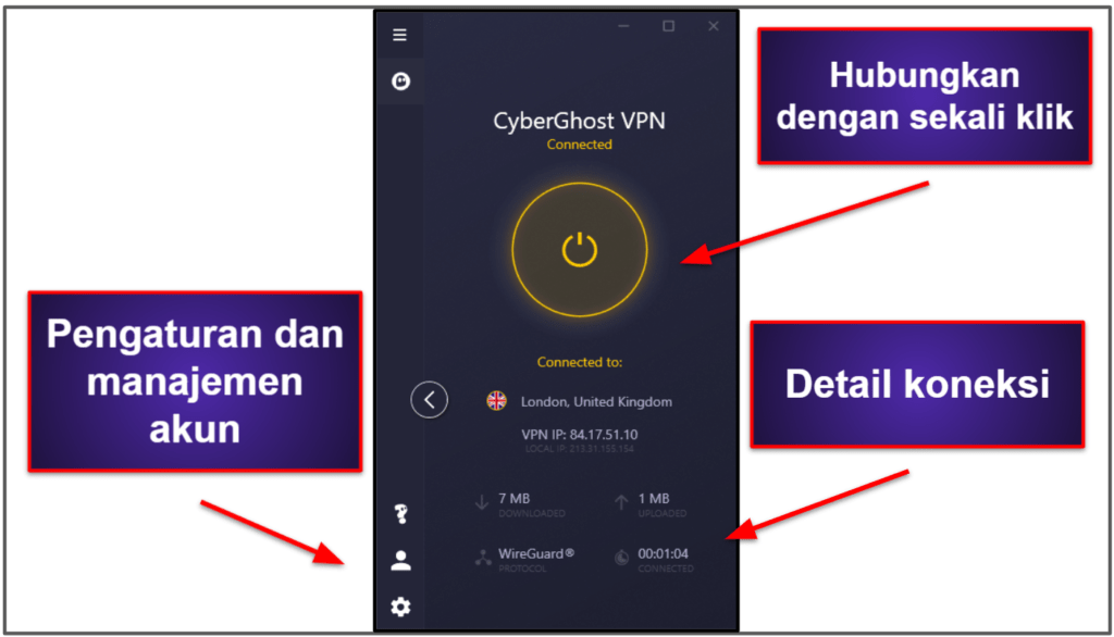 Kemudahan Penggunaan CyberGhost VPN: Aplikasi Seluler & Desktop
