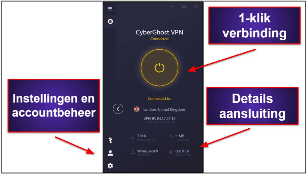CyberGhost VPN Gebruiksgemak: mobiele en desktop-apps