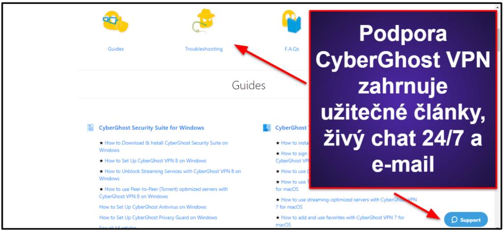 Zákaznická podpora CyberGhost VPN