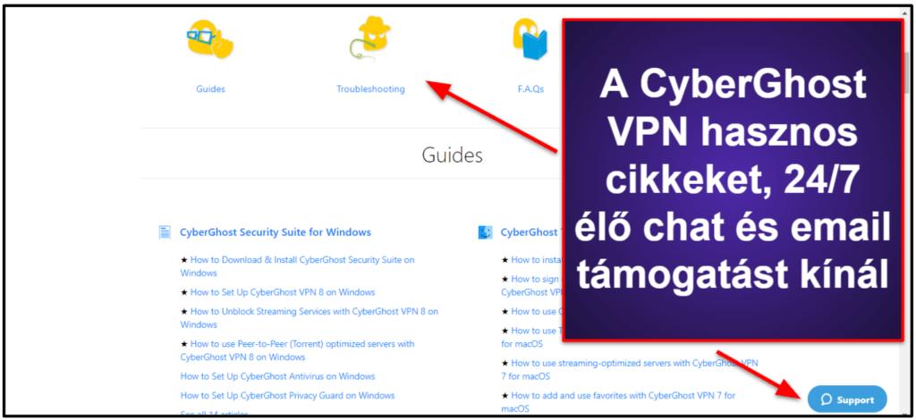 CyberGhost VPN ügyfélszolgálat