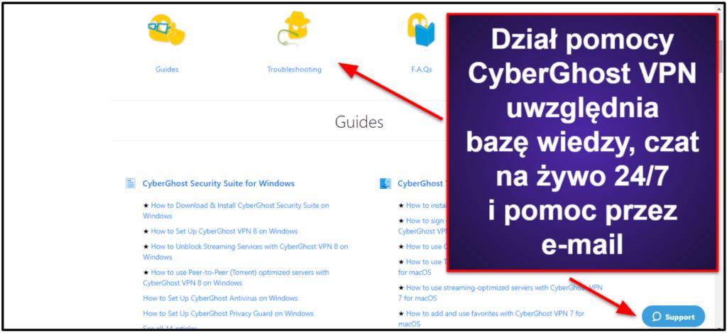 Obsługa klienta CyberGhost VPN