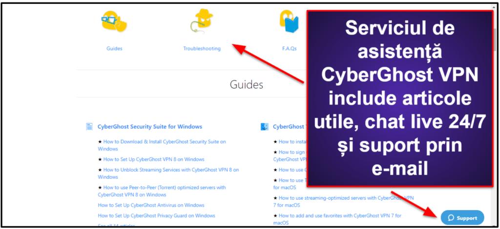 Asistență pentru clienți CyberGhost VPN
