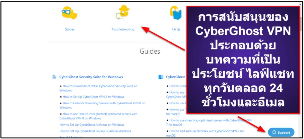 ฝ่ายสนับสนุนลูกค้าของCyberGhost VPN
