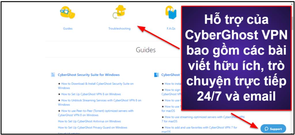 Hỗ trợ khách hàng của CyberGhost VPN