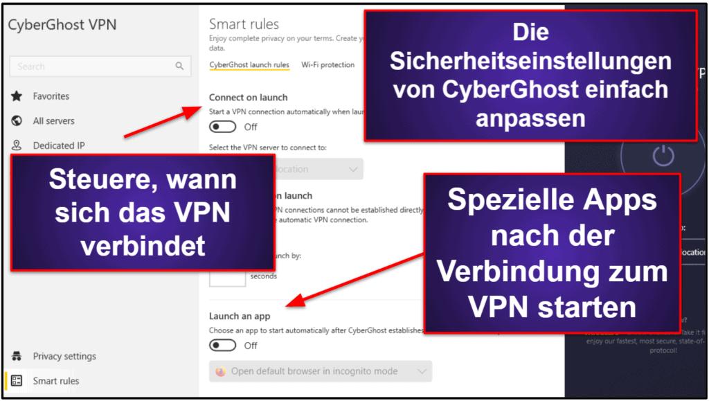 CyberGhost-VPN-Funktionen