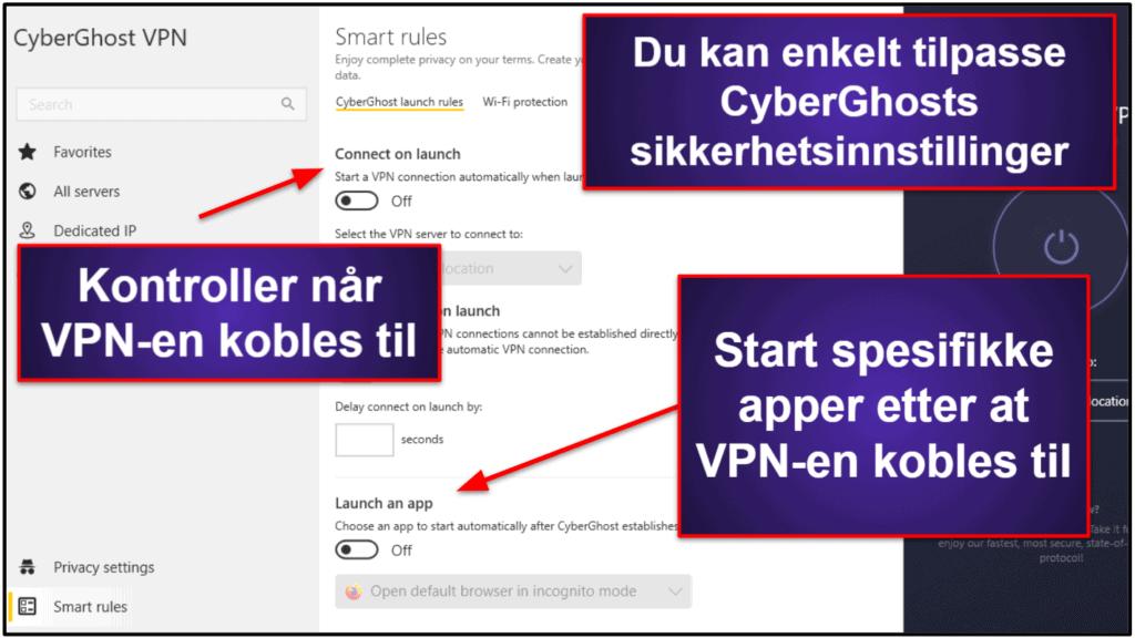 CyberGhost VPN-funksjoner