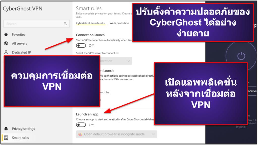 ฟีเจอร์ของCyberGhost VPN