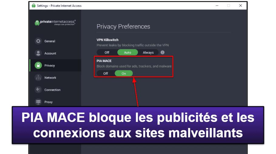 Private Internet Access : Fonctionnalités