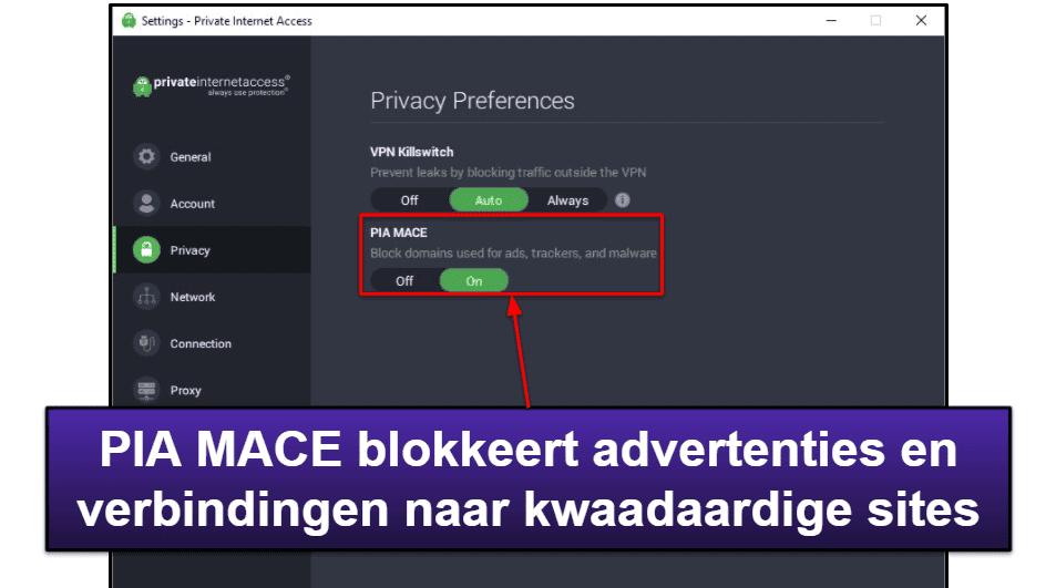 Eigenschappen Private Internet Access
