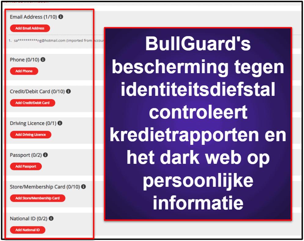 BullGuard beveiligingsfuncties