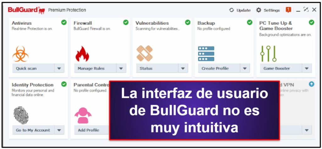 Facilidad de uso y configuración de BullGuard