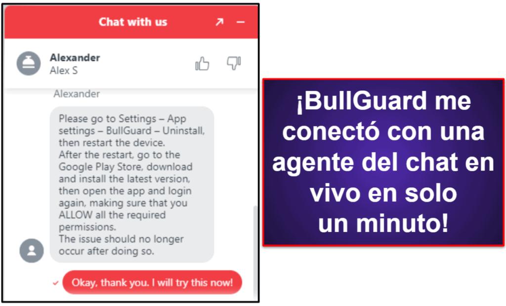 Asistencia al cliente de BullGuard