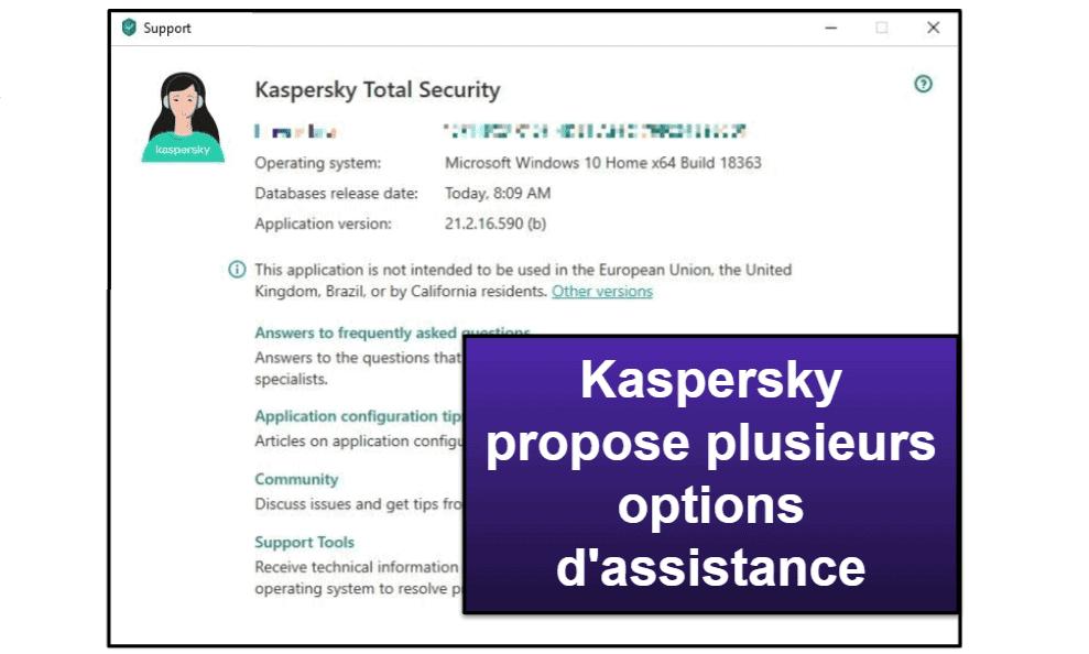 Assistance clientèle de Kaspersky
