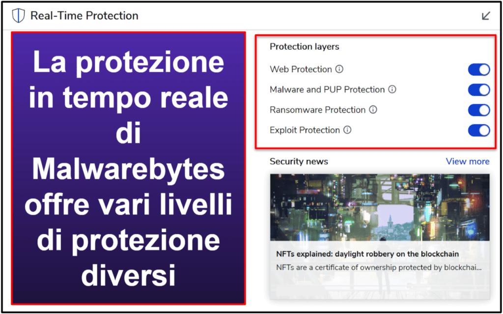 Funzionalità di sicurezza di Malwarebytes