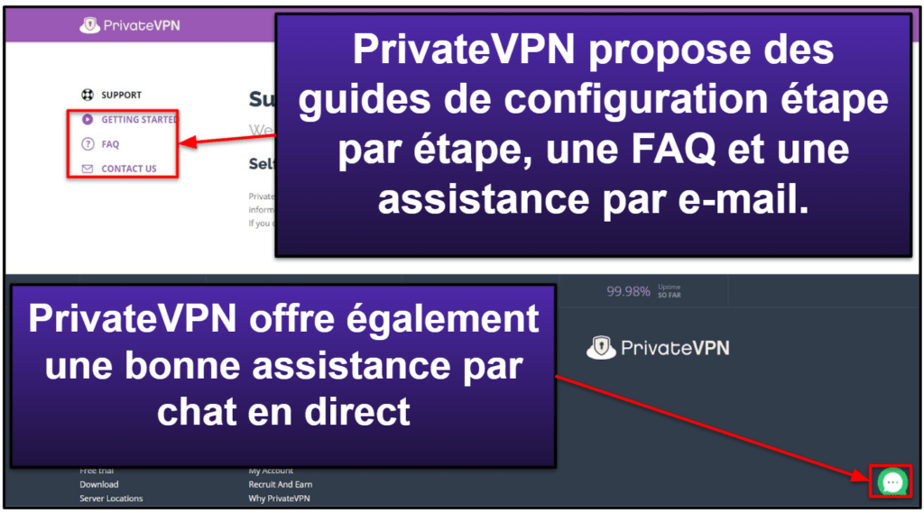 PrivateVPN: Assistance clientèle