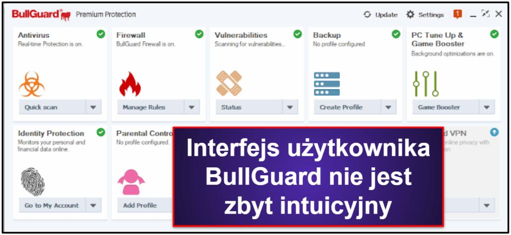 Łatwość obsługi i konfiguracji BullGuard