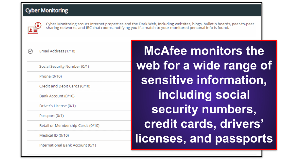 McAfee Security Features