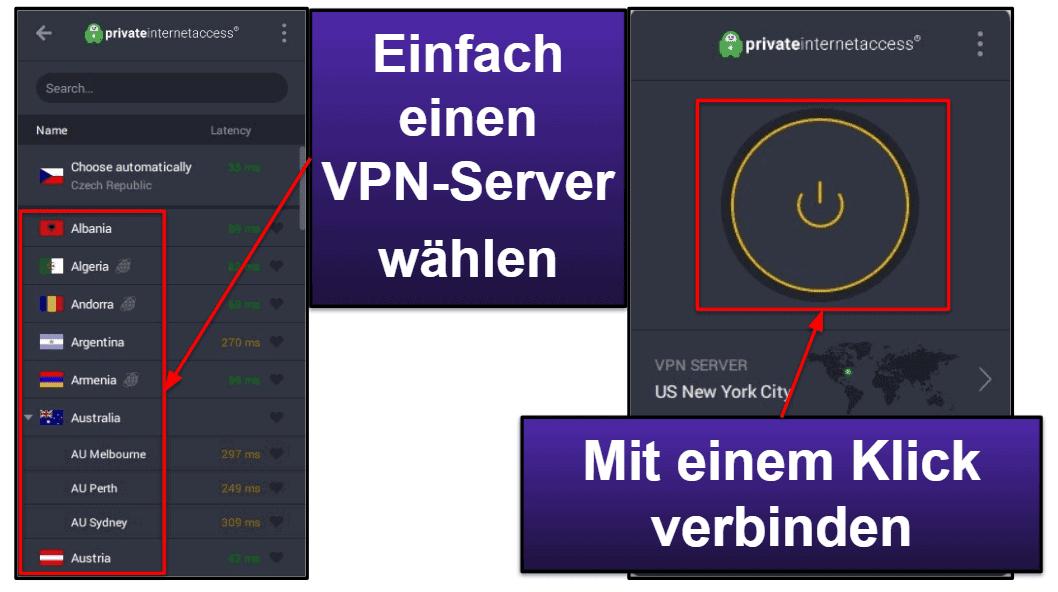 Private Internet Access Benutzerfreundlichkeit: mobile & Desktop-Apps