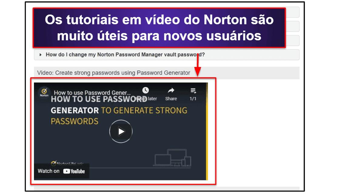 Suporte ao cliente do Norton Password Manager