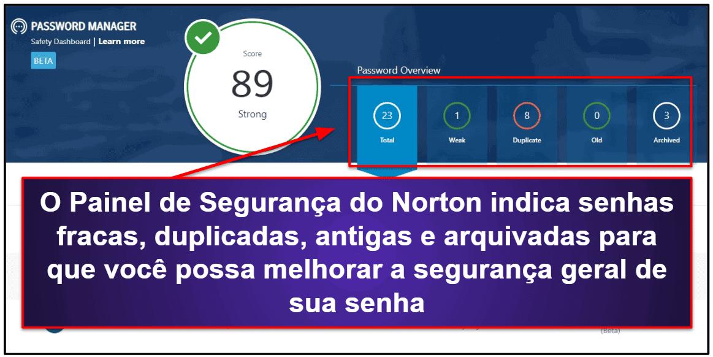 Recursos de segurança do Norton Password Manager