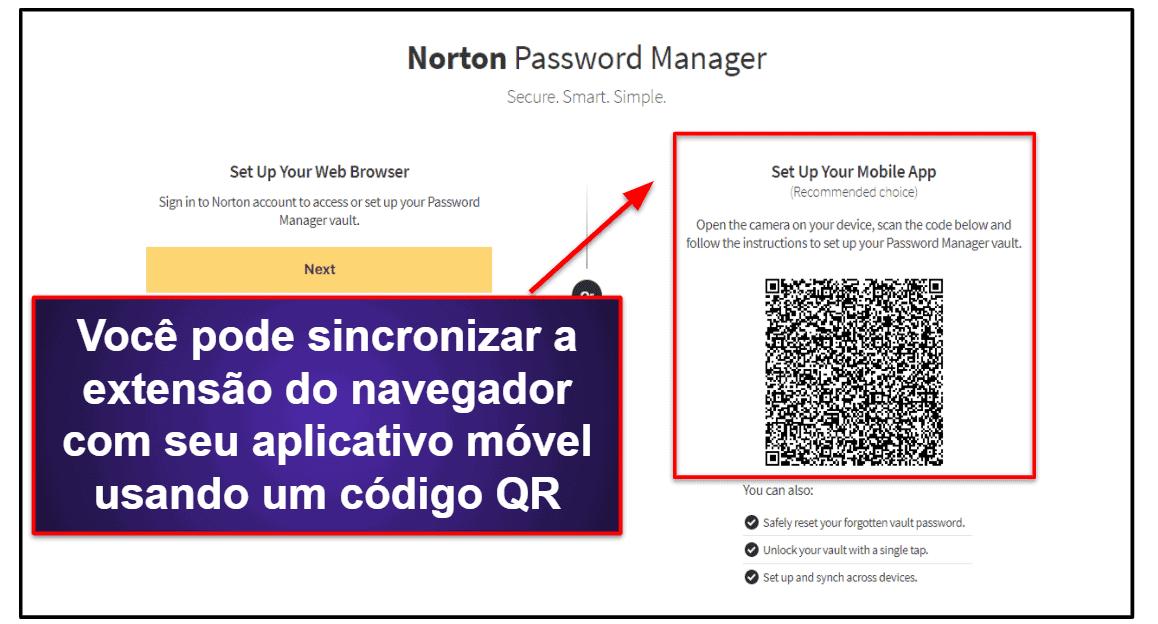 Facilidade de uso e configuração do Norton Password Manager