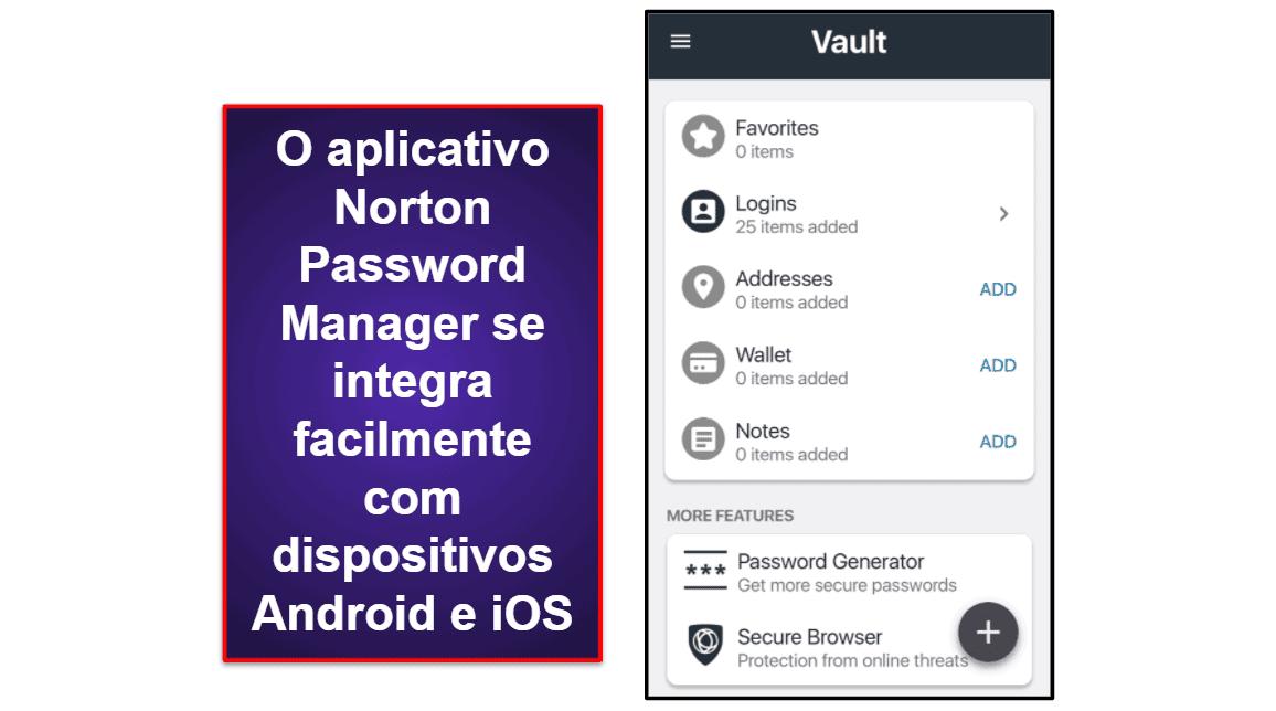 Aplicativo móvel do Norton Password Manager