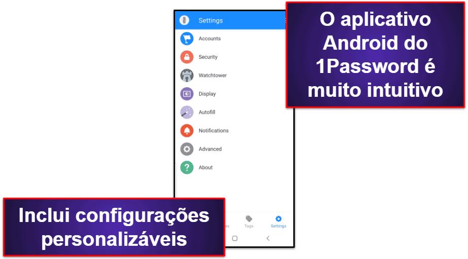 Aplicativo móvel do 1Password