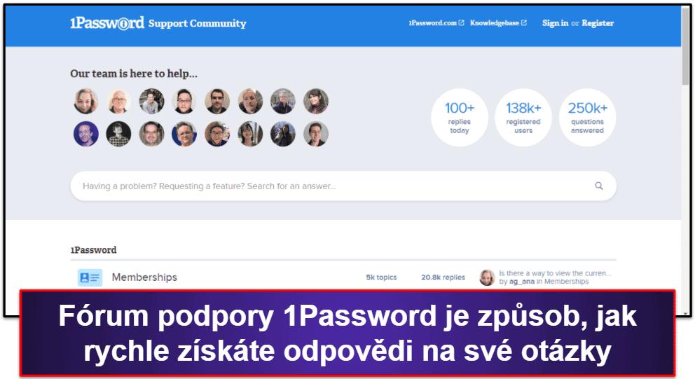 Uživatelská podpora 1Password