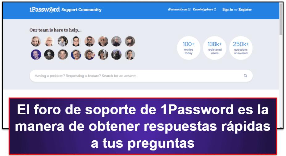 Atención al cliente de 1Password